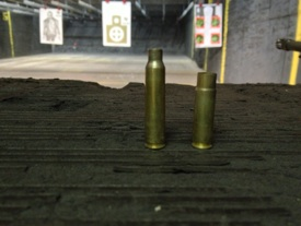 Comparison of spent casings - 5.56 next to the 300 AAC Blackout