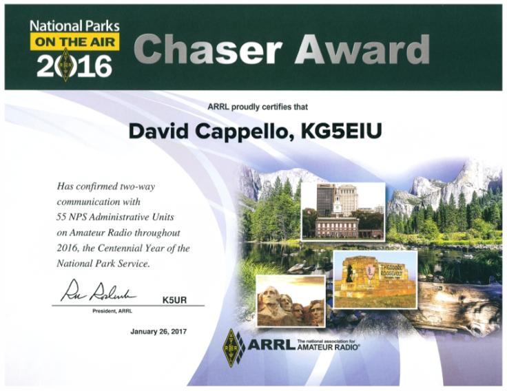 NPOTA KG5EIU Chaser Award 2016